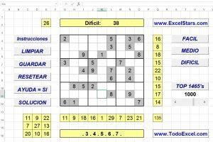 Juegos hechos en Excel -Sudoku