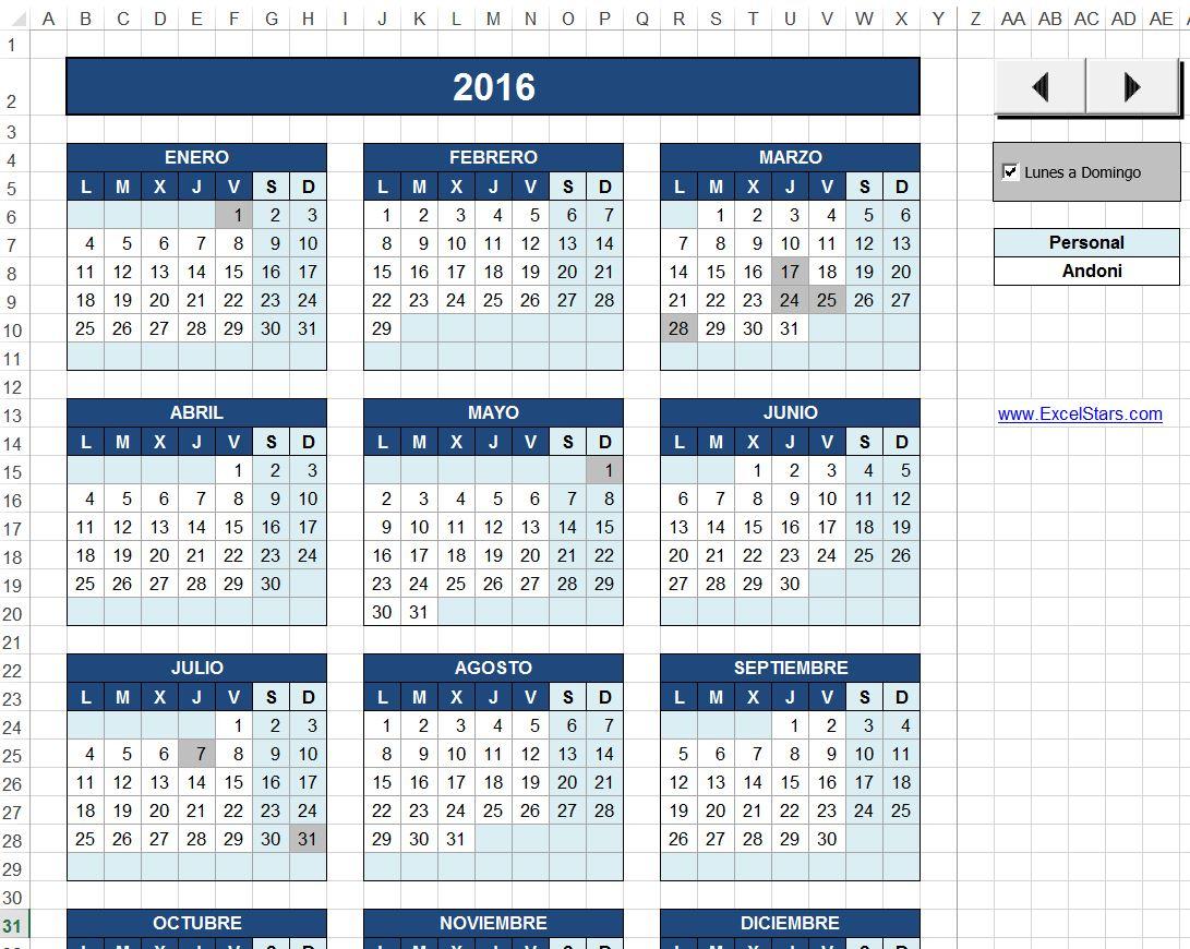 Calendario Laboral - Calendario Laboral hecho en Excel
