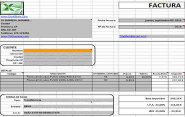 Plantillas Excel - Plantillas de Facturas y Presupuestos hechas en Excel