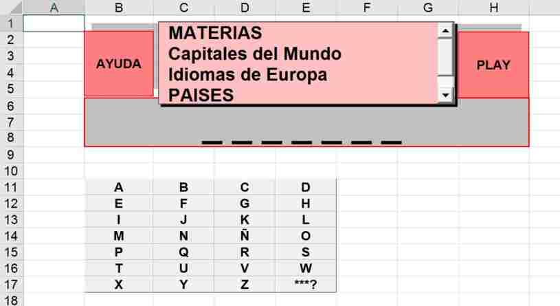 Ahorcado Excel - Juego del Ahorcado Excel - Juego Ahorcado