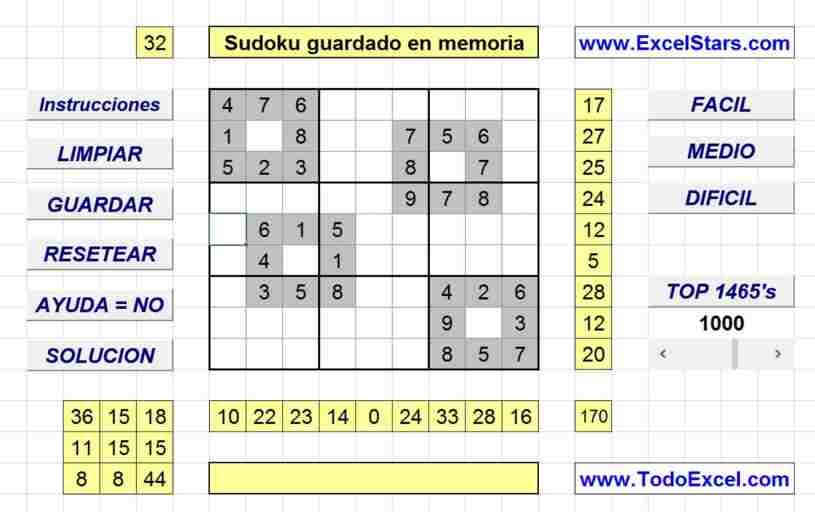 Sudoku - Sudoku hecho en Excel