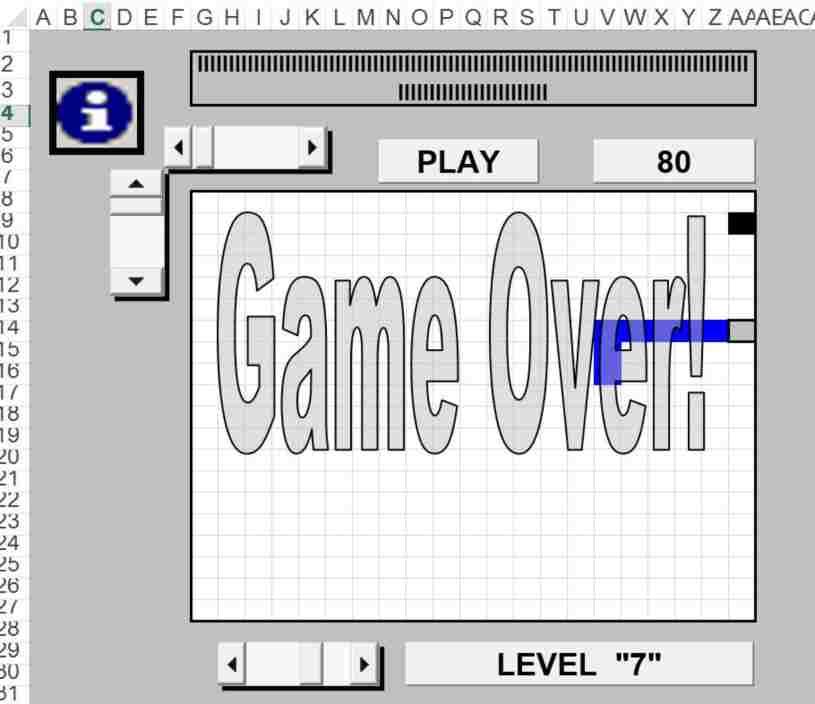 Snake en Excel - Serpiente en Excel - Serpiente hecho en Excel
