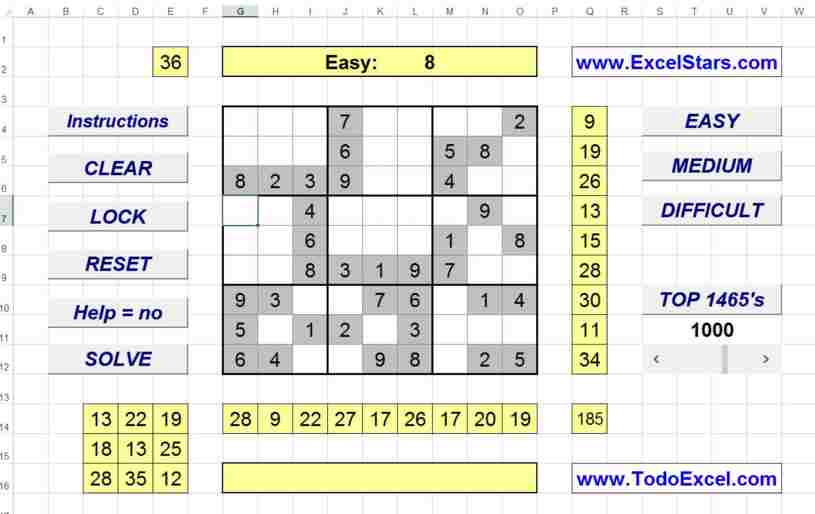 Sudoku en ExCel - Sudoku hecho en Excel - Sudoku para Excel