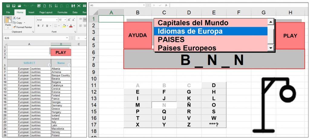 Ahorcado Excel Juego Del Ahorcado Excel Juego Ahorcado Excel Expert Excel Programs Excel Programs For Companies
